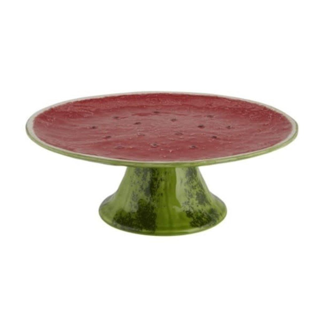 """BORDALLO PINHEIRO Green & Red Watermelon 13"""" Cake Stand in Ceramic"""