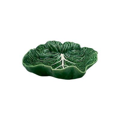 "BORDALLO PINHEIRO 10"" Cabbage Ceramic Rounded Leaf Tray - Green"