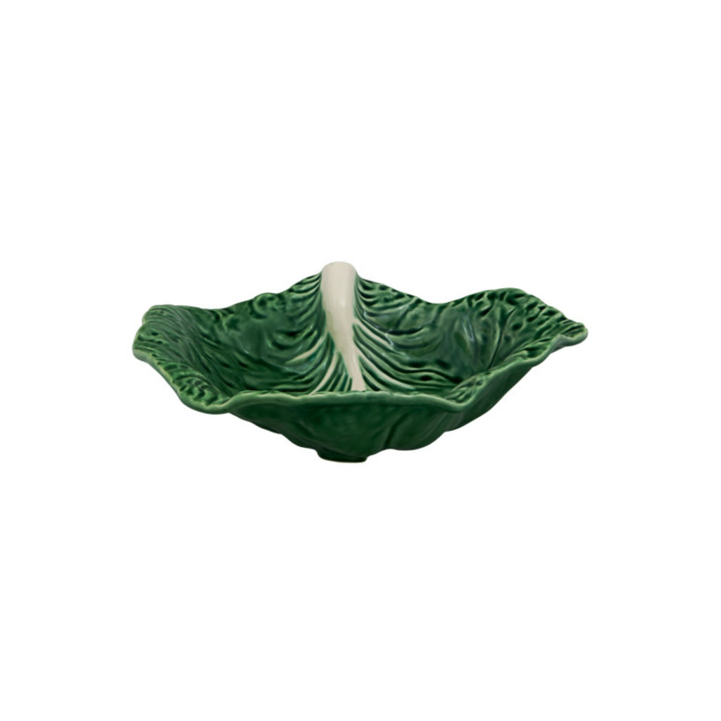"""BORDALLO PINHEIRO Green Cabbage 14"""" Rounded Leaf Platter in Ceramic"""