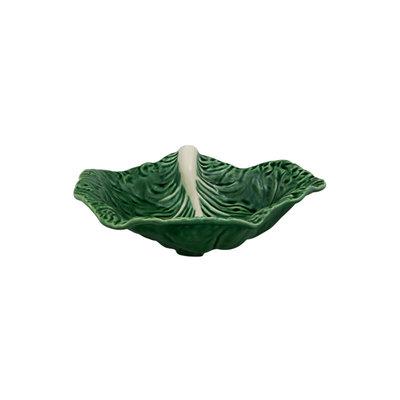BORDALLO PINHEIRO Plateau à feuilles arrondies en céramique en chou de 14 po - vert