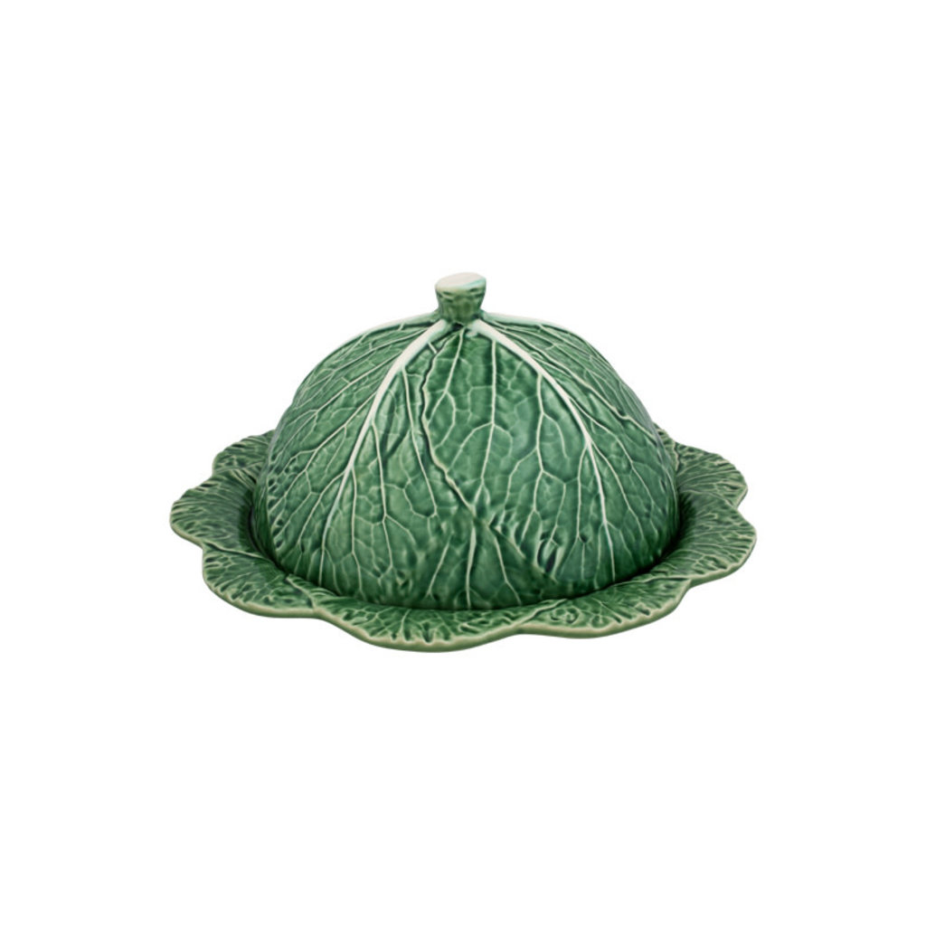 BORDALLO PINHEIRO Plateau de service à fromage en céramique avec couvercle en chou vert