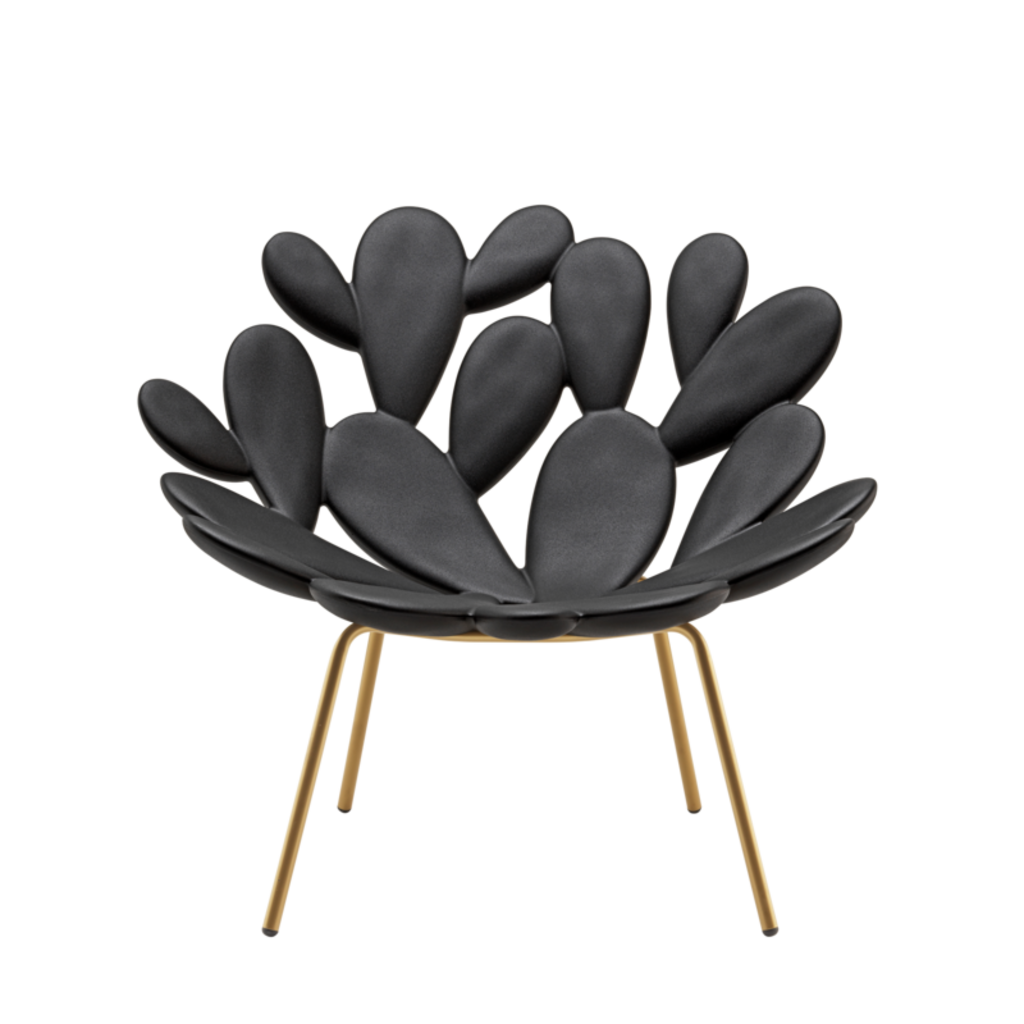 QEEBOO Filicudi Lounge Armchair in Black & Brass