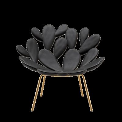 QEEBOO Filicudi Lounge Armchair - Black & Brass
