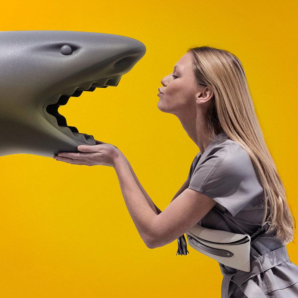 QEEBOO Porte-parapluies et rafraîchisseur à champagne en Requin en gris