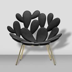 QEEBOO Fauteuil Lounge Filicudi couleur noire et laiton