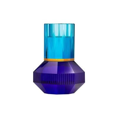REFLECTIONS COPENHAGEN Bougeoir en cristal de Chicago - Bleu, Jaune et Cobalt