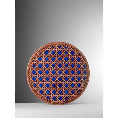 MARIO LUCA GIUSTI Patagonia Rattan Print Small Melamine Plate Set of 6 - Blue & Brown