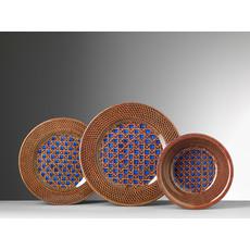 MARIO LUCA GIUSTI Patagonia Rattan Print Blue & Brown Small Plate Set of 6 in Melamine