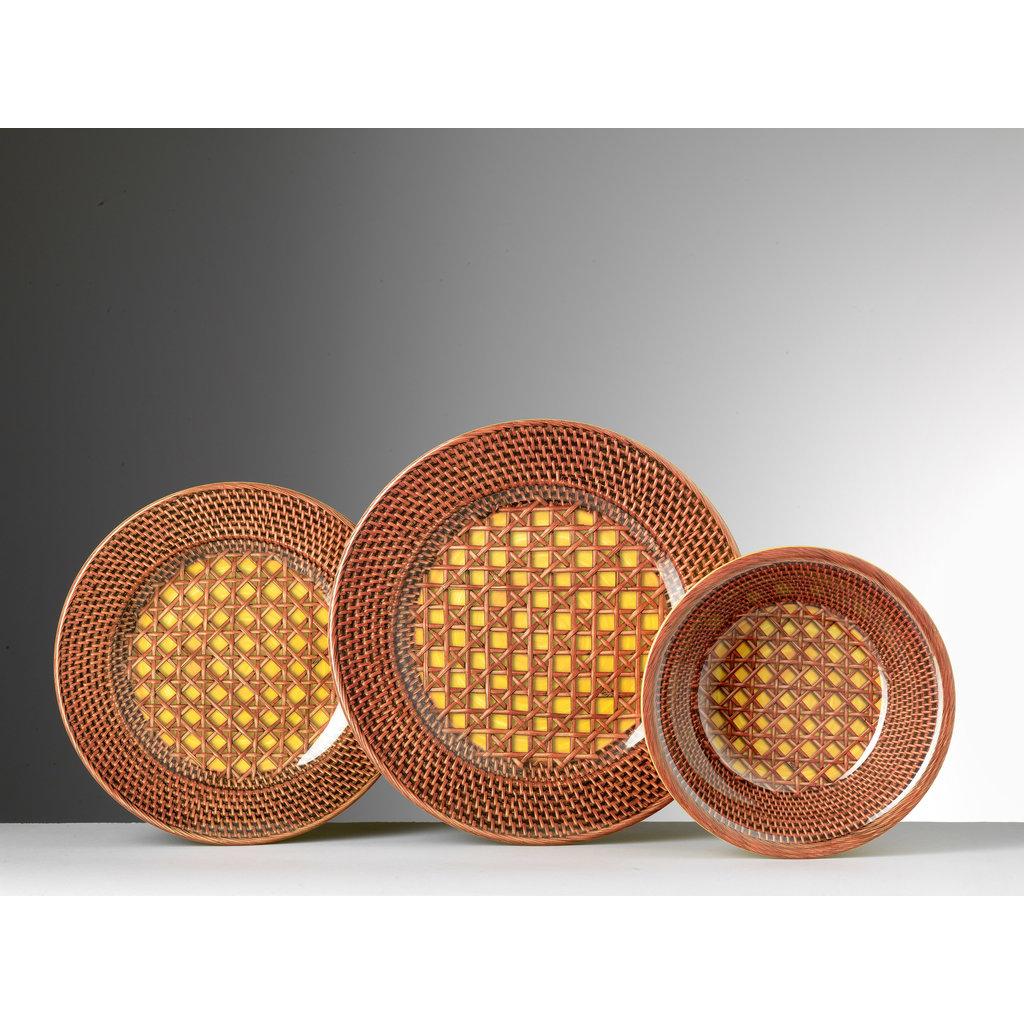 MARIO LUCA GIUSTI Patagonia Rattan Print Yellow & Brown Small Plate Set of 6 in Melamine