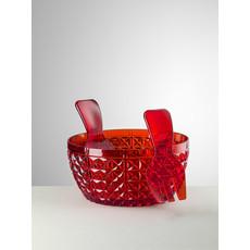 MARIO LUCA GIUSTI  Ensemble saladier et serveur Churchill rouge en acrylique