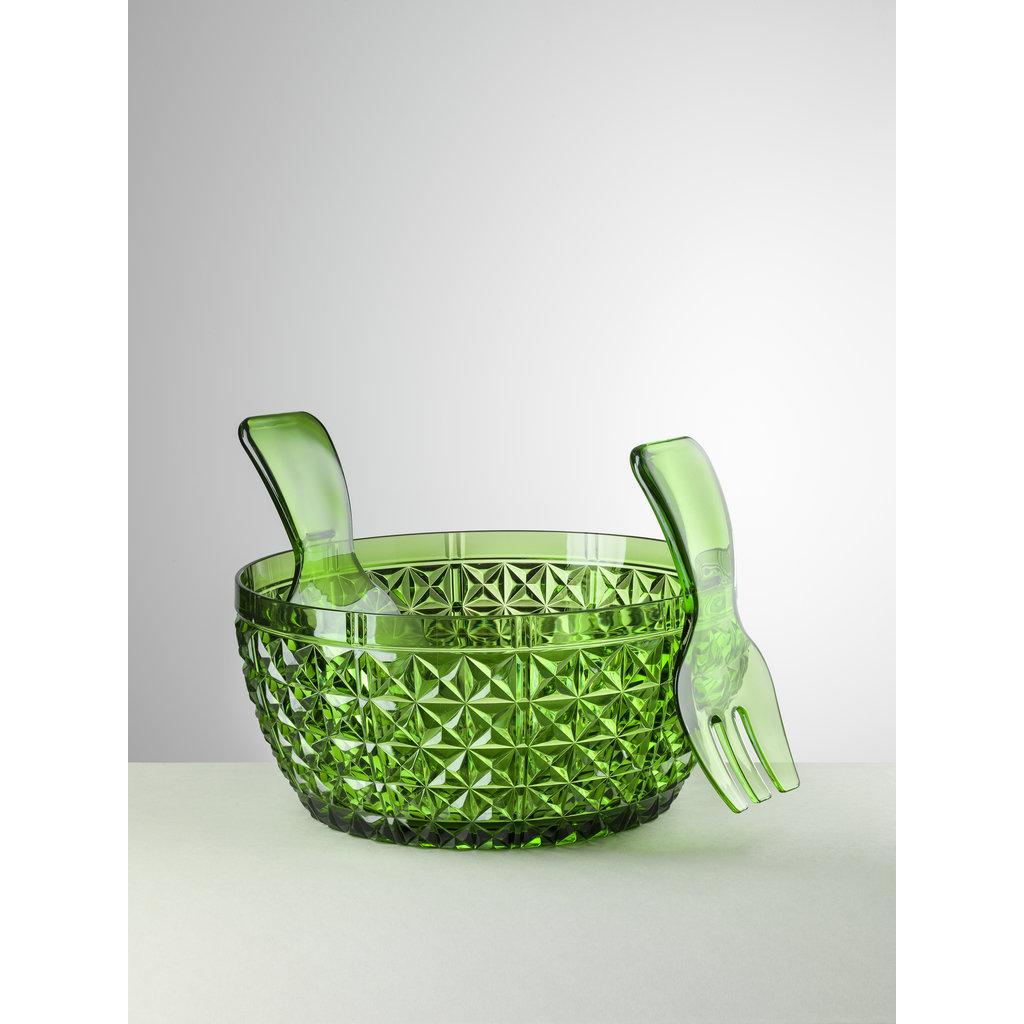 MARIO LUCA GIUSTI  Ensemble saladier et serveur en acrylique Churchill Green