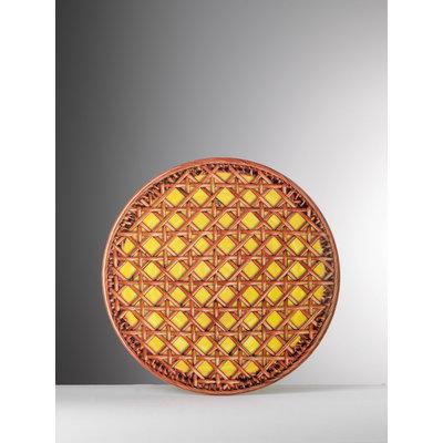 MARIO LUCA GIUSTI Patagonia Rattan Print Medium Melamine Plate set of 6- Yellow & Brown