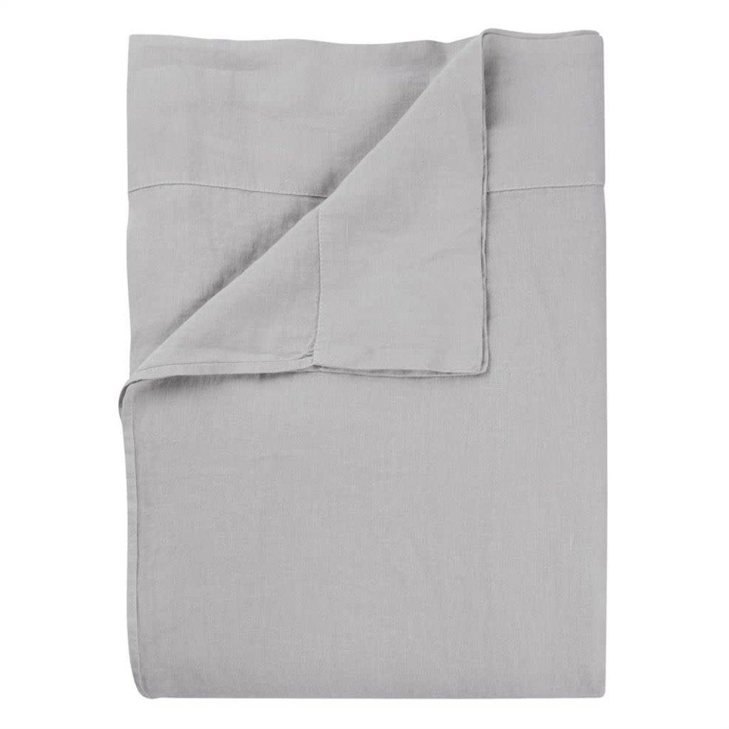 DESIGNERS GUILD Biella Pale Grey & Dove Queen Flat Sheet 94 X 118'' - 240 X 300 Cm