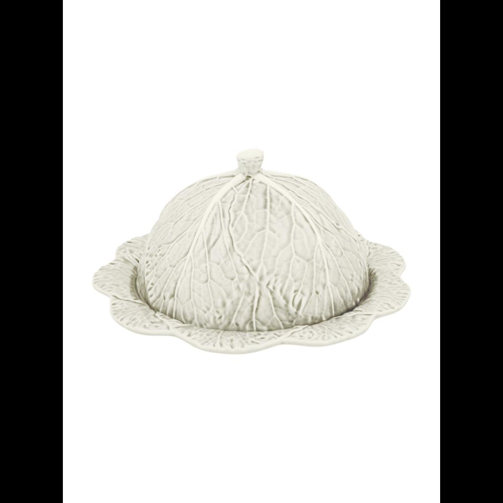 BORDALLO PINHEIRO Plateau de service à fromage en céramique en chou beige avec couvercle