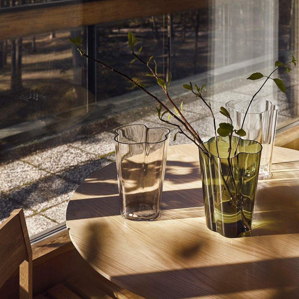 IITTALA  Aalto Glass Vase 8.75'' - Moss Green