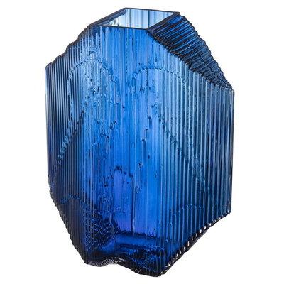 LITTALA Kartta Vase en verre sculptural 9.5''X 12.5'' - Bleu