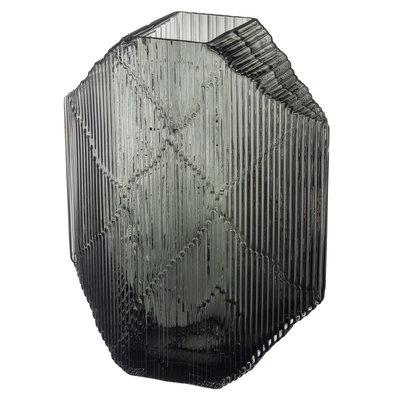 IITTALA Kartta Glass Sculpture Vase  9.5'' x 12.5'' - Smokey Grey
