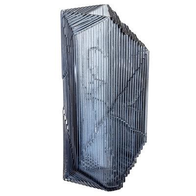 IITTALA Kartta Glass Sculpture Vase 5.9''X12.5'' - Dark Blue Grey