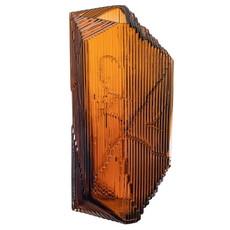 IITTALA  Kartta Glass Sculpture Vase 5.9''X 12.5'' - Copper