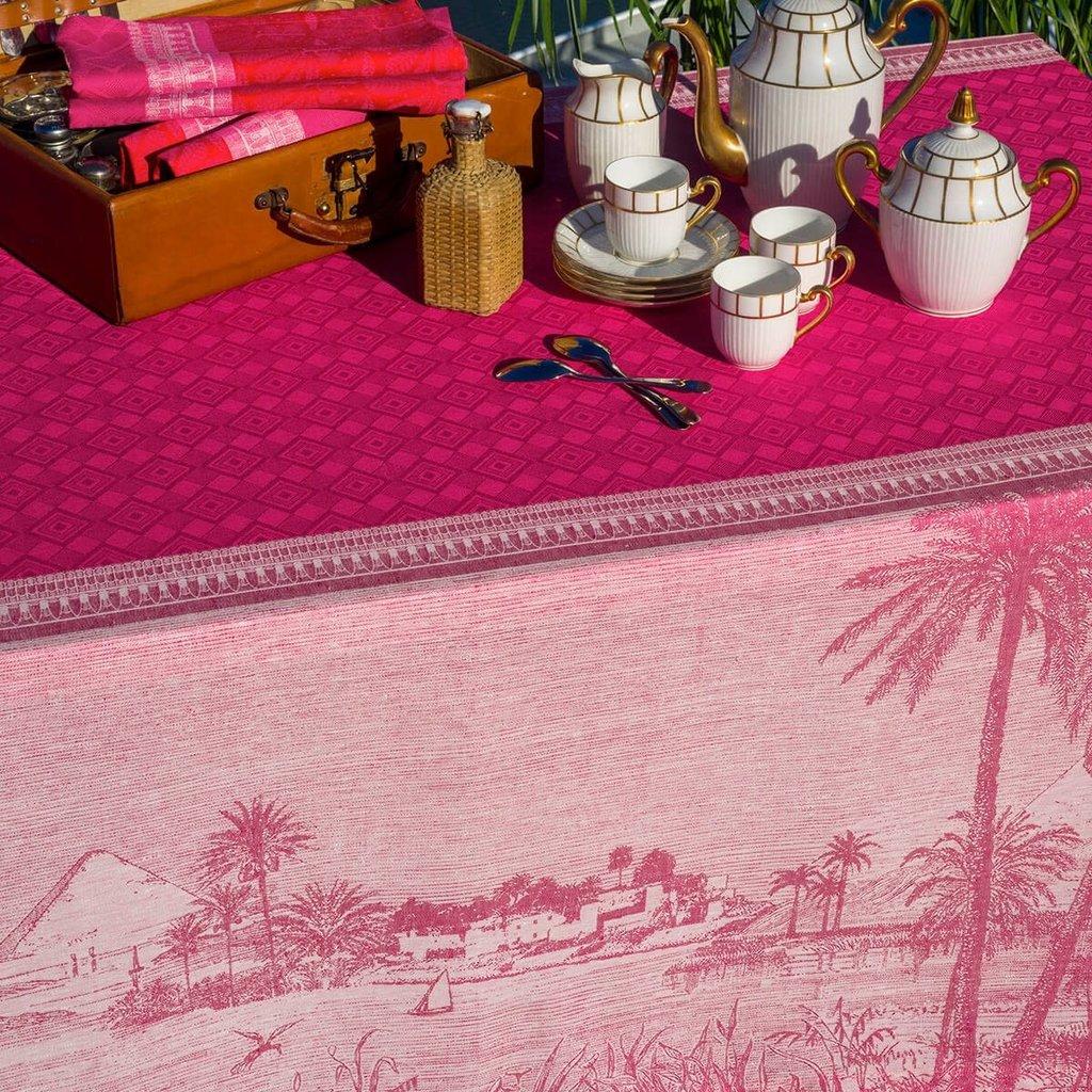 """LE JACQUARD FRANCAIS Croisière Sur Le Nil Tablecloth 69"""" X 98"""" Orchid"""