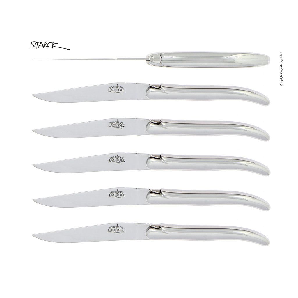 FORGE DE LAGUIOLE Philippe Starck 6 Table Knives, Full Handle, Stainless Steel