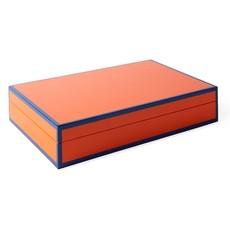 JONATHAN ADLER  Lacquer Valet Keepsake Box - Orange & Blue