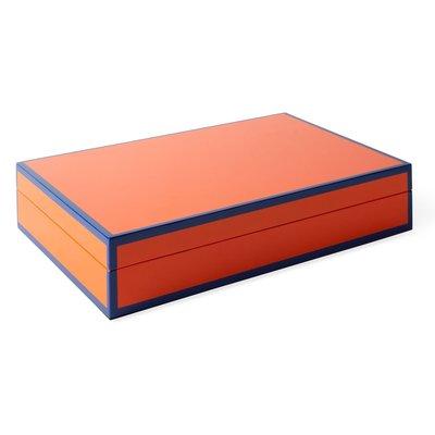 JONATHAN ADLER Boîte à souvenirs Lacquer Valet - Orange et bleu