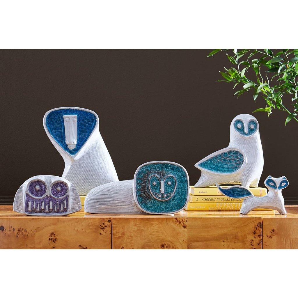 JONATHAN ADLER  Glass Menagerie Barn Owl - Silver & Blue