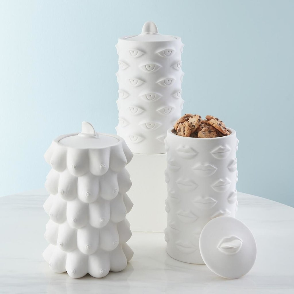 JONATHAN ADLER Muse Eyes Cookie Jar Canister - White