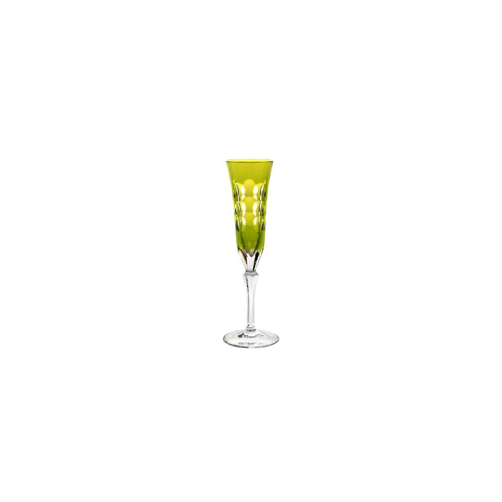 CHRISTOFLE Kawali Lime Crystal Champagne Flute each  8 6/7'' - 3 oz