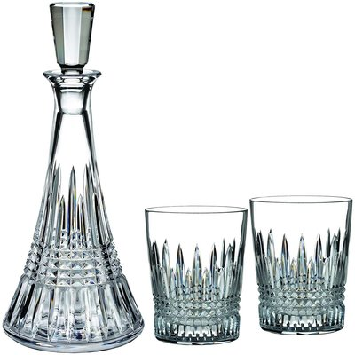 WATERFORD Lismore Diamond Decanter 32 oz & Double Old Fashioned Set/2