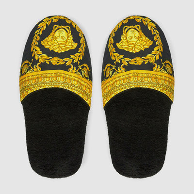VERSACE HOME I Love Baroque Slippers - L - Black & Gold