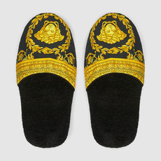 VERSACE HOME I Love Baroque Slippers - M - Black & Gold