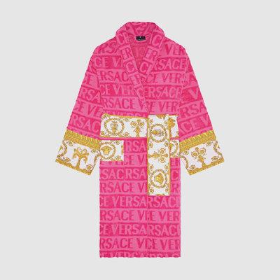 VERSACE HOME I Love Baroque Bathrobe - L - Pink & White