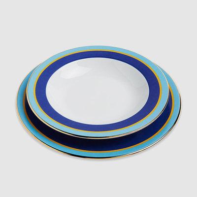 LA DOUBLE J Rainbow Porcelain Soup Bowl & Dinner Plate Set of 2 - Blue & Turquoise