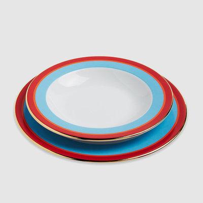 LA DOUBLE J Rainbow Porcelain Soup Bowl & Dinner Plate Set of 2 - Turquoise & Red