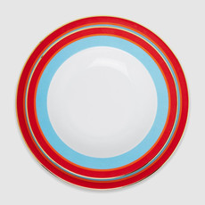 LA DOUBLE J  Assiette à soupe et assiette plate en porcelaine arc-en-ciel, Set de 2 - Turquoise & Rouge