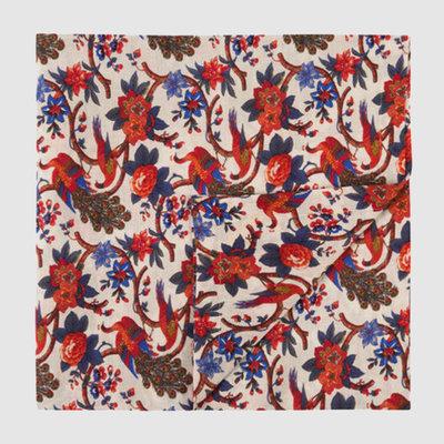 LA DOUBLE J Nappe de lin imprimée Pavone 180X180cm