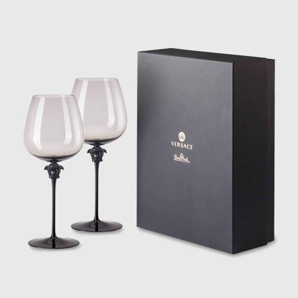 VERSACE VERSACE Medusa Lumiere Haze Red Wine Burgundy Set Of Two 11 In 29 Oz