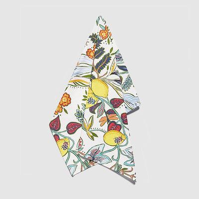 LA DOUBLE J Torchon à vaisselle en lin imprimé fruits et botanique