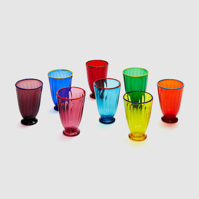 LA DOUBLE J Murano Glass Rainbow Glassware Set of 8