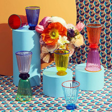 LA DOUBLE J  Verre de Murano arc-en-ciel - Ensemble de 8 verres