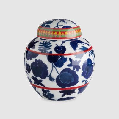 LA DOUBLE J Jarre à thé Porcelaine Oiseau Sauvage Bleu