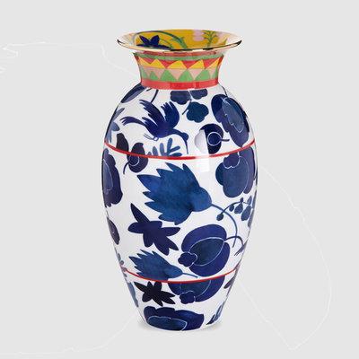 LA DOUBLE J Vase Amphore Porcelaine Oiseau Sauvage Bleu