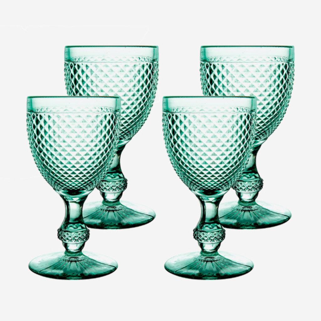VISTA ALEGRE  Bicos Water Goblet Glasses Set of 4 - Mint