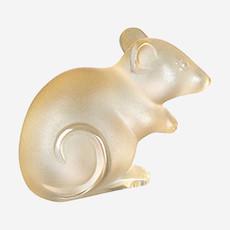 LALIQUE Mouse Figure - Gold Luster