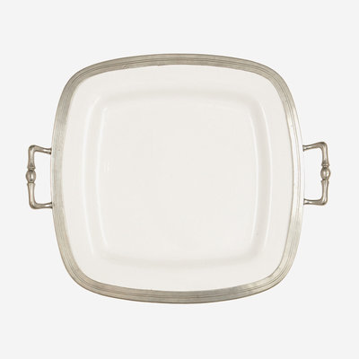 ARTE ITALICA Tuscan Square Tray with Handles - White