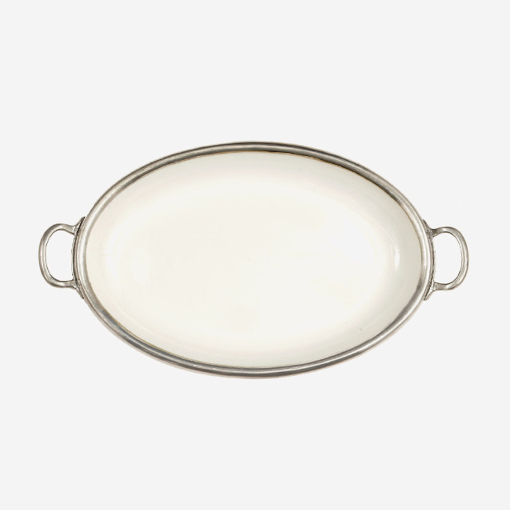 ARTE ITALICA  Tuscan Oval Tray with Handles - White