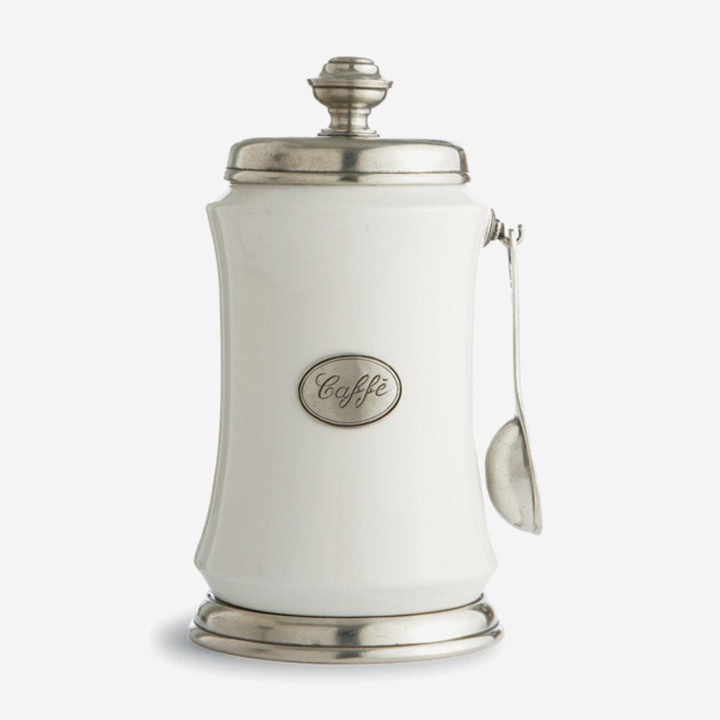 ARTE ITALICA  Tuscan Boîte à café avec cuillère - Blanche