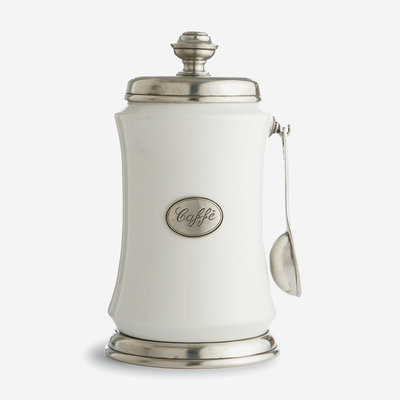 ARTE ITALICA Tuscan Coffee Canister with Spoon - White